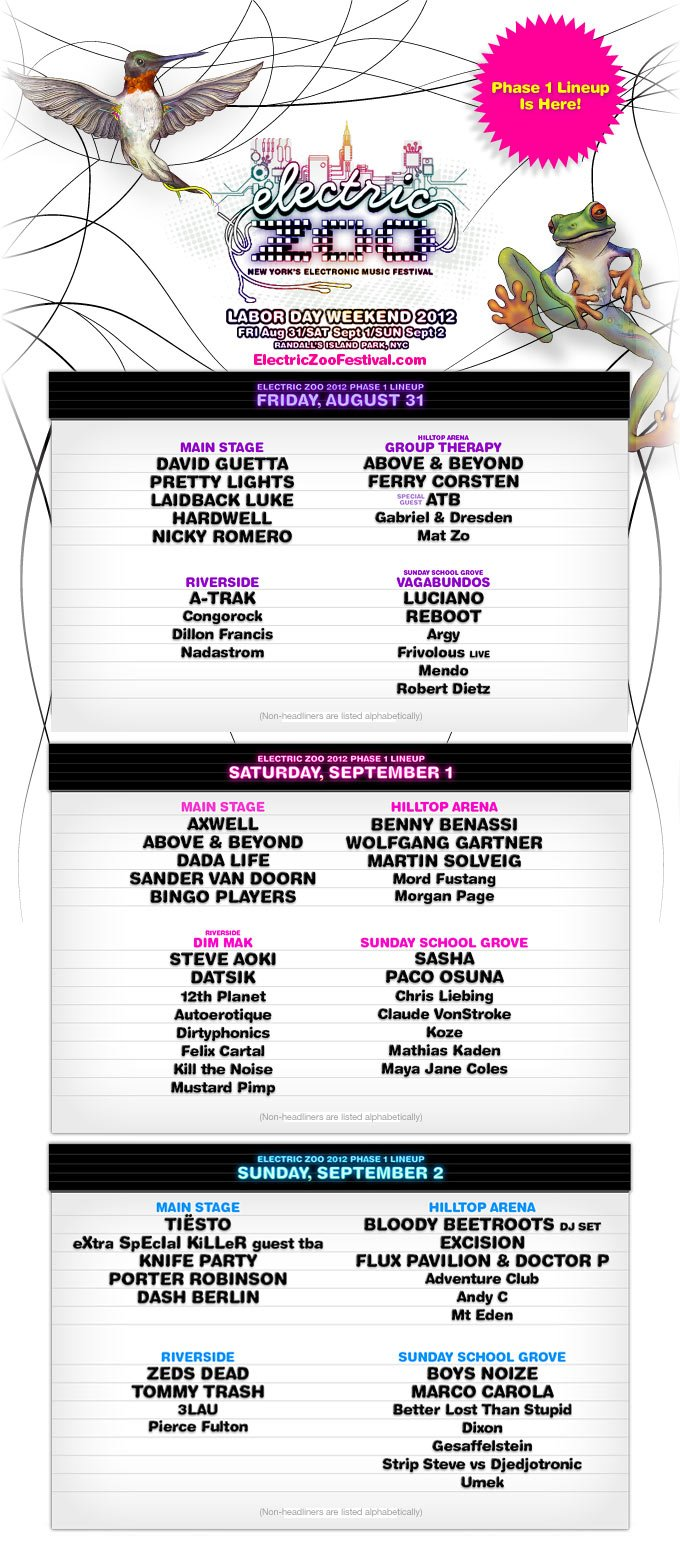 EZF 2012 NEWS: Electric Zoo 2012 Phase 1 Line Up Announced
