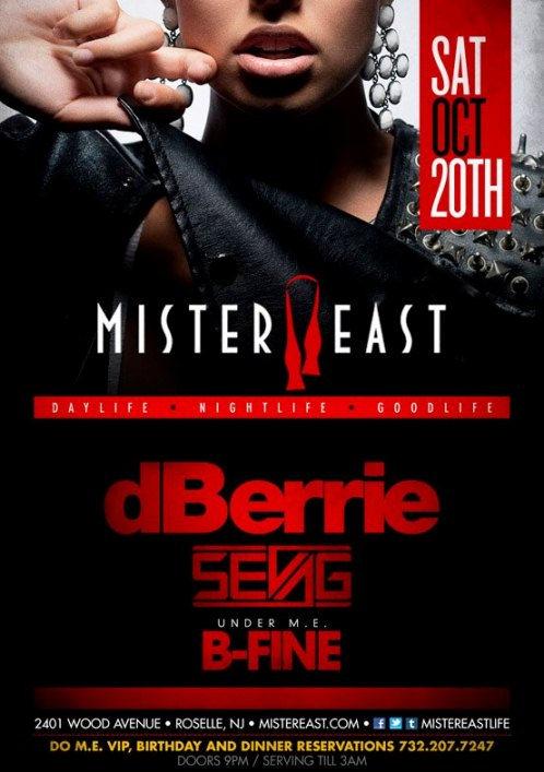 ME dBerrie CONTEST: Be A VIP for dBerrie & Sevag @ Mister East 10.20