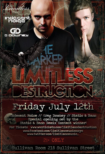 EVENT: Limitless Music presents Indecent Noise, Greg Downey, Static & Bass @ Sullivan Room 7.12