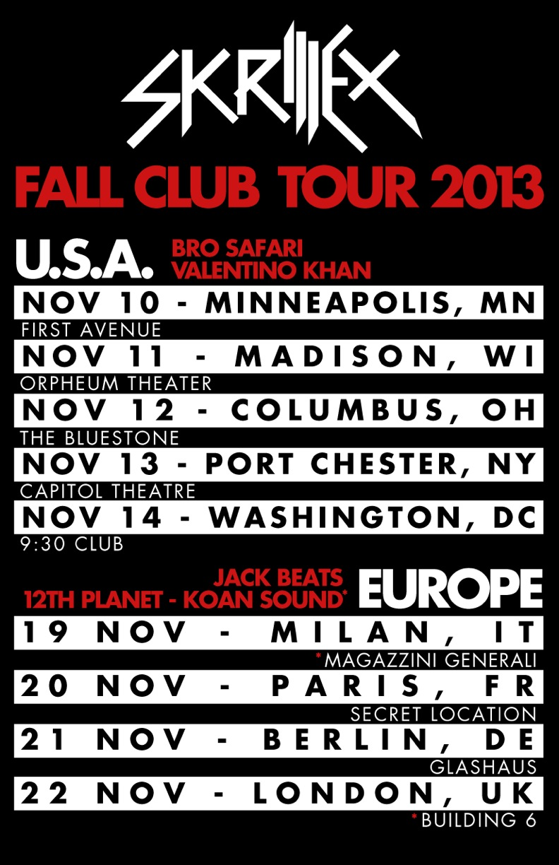 skrillex fall club tour1 Review: Skrillex 2013 Fall Club Tour   The Capitol Theater 10/13