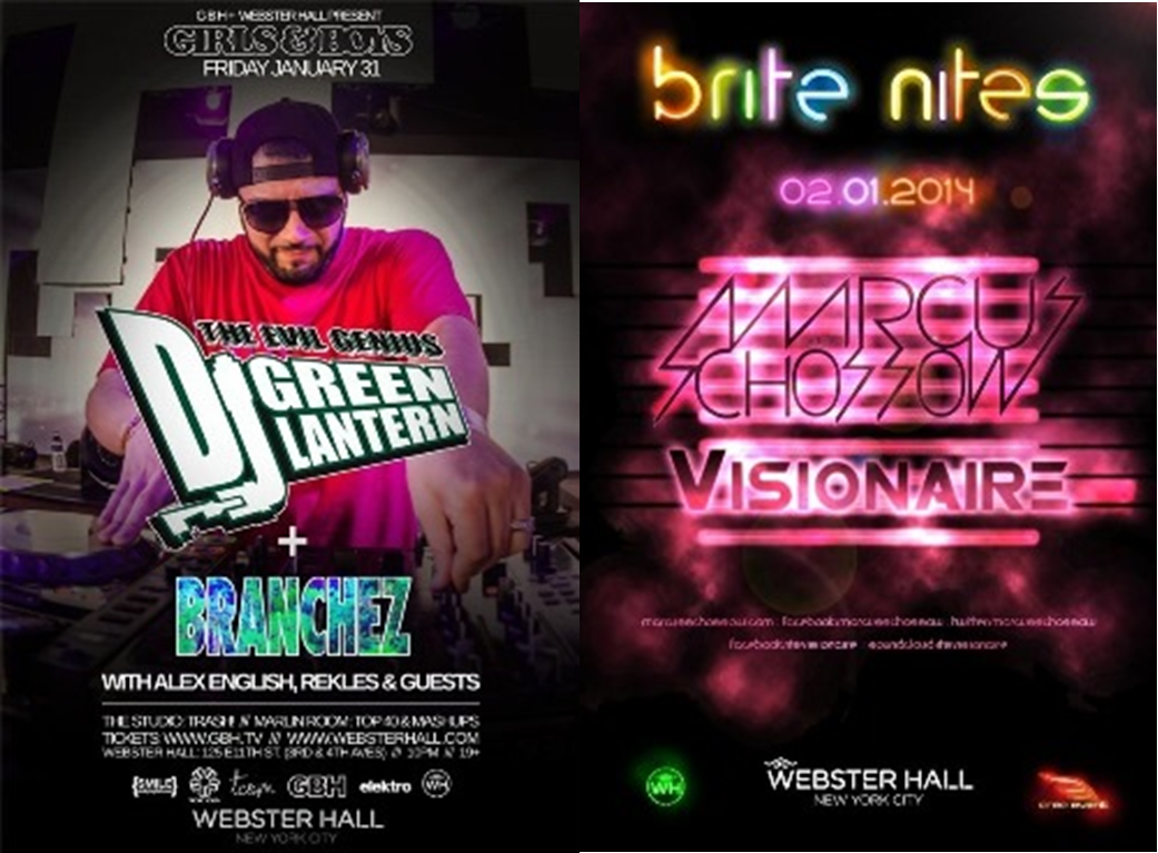 Webster Weekend 1.31 2.1 PREVIEW: DJ Green Lantern 1/31 & Marcus Schossow 2/1 @ Webster Hall