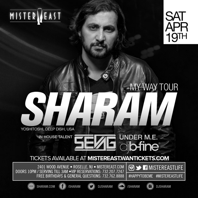 Win 2 VIP tickets to see Sharam & Sevag @ Mister East 4/19